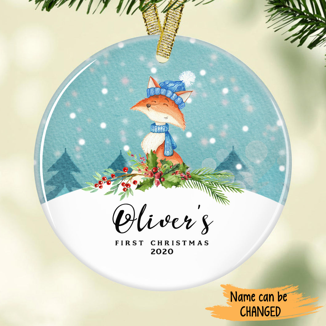 Cute Fox - Baby's First Christmas Personalized Ornament ONFM002