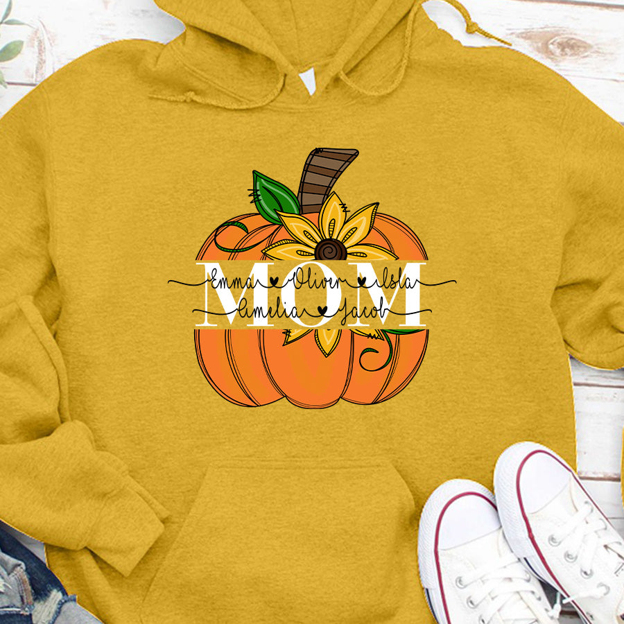 Grandma Mom Cute Autumn Pumpkin Personalized Grandchildren Names APGM013