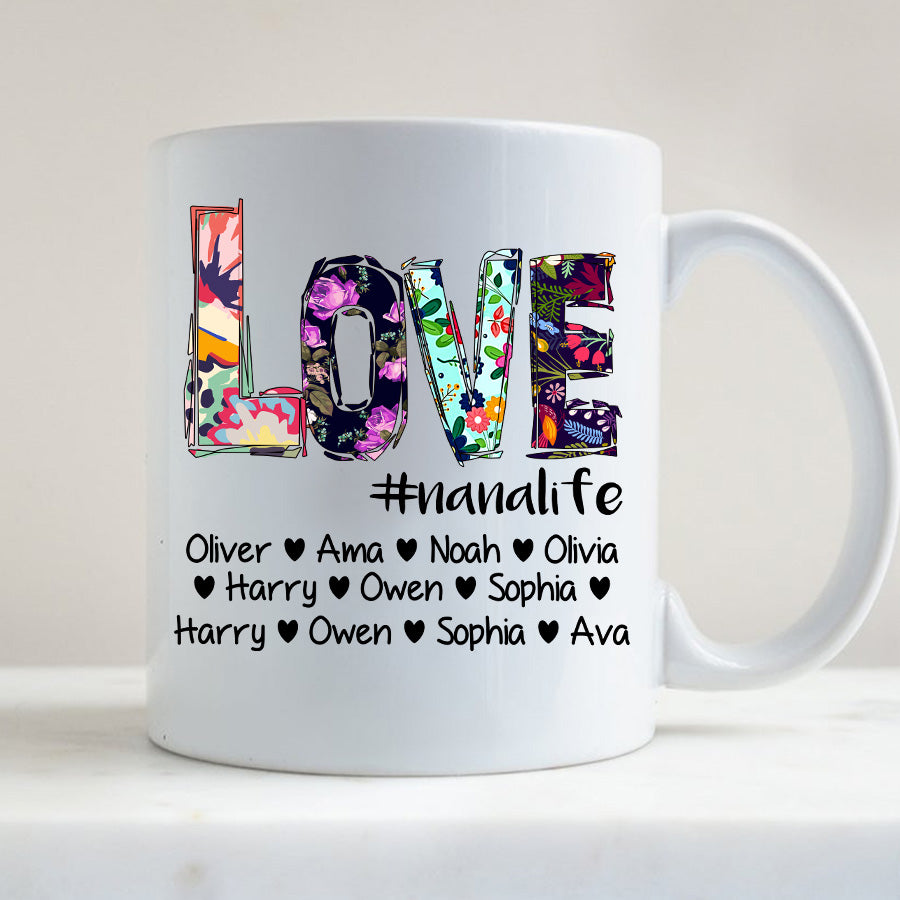 Love Grandma life - Mom life Flower colorful Personalized T-shirt Mug APGM003