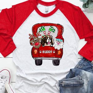Dog Mom Cute Christmas Truck Personalized T-shirt APDM121