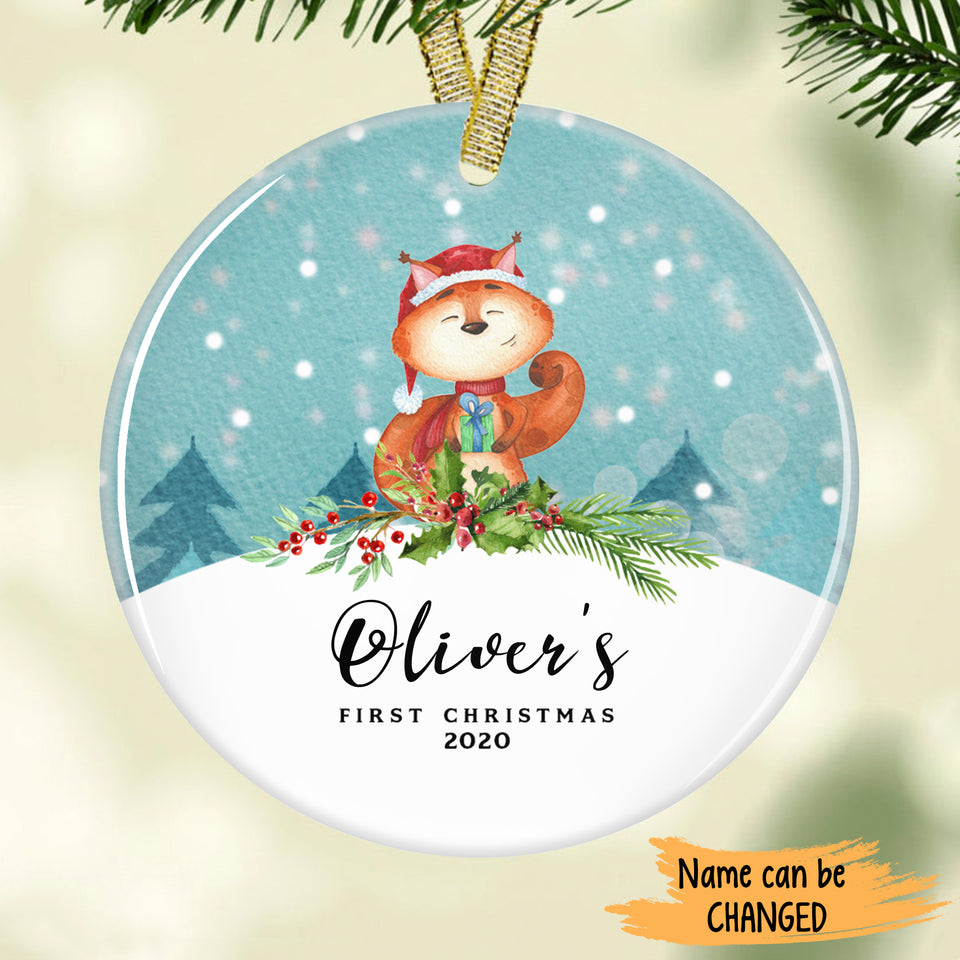Cute Squirrel in red scarf - Baby's First Christmas Personalized Ornament ONFM002