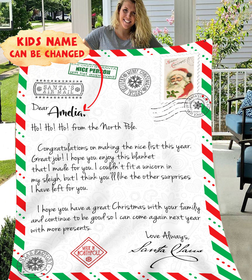 Letter from Santa Claus for Nice List Personalized Blanket BLCR001