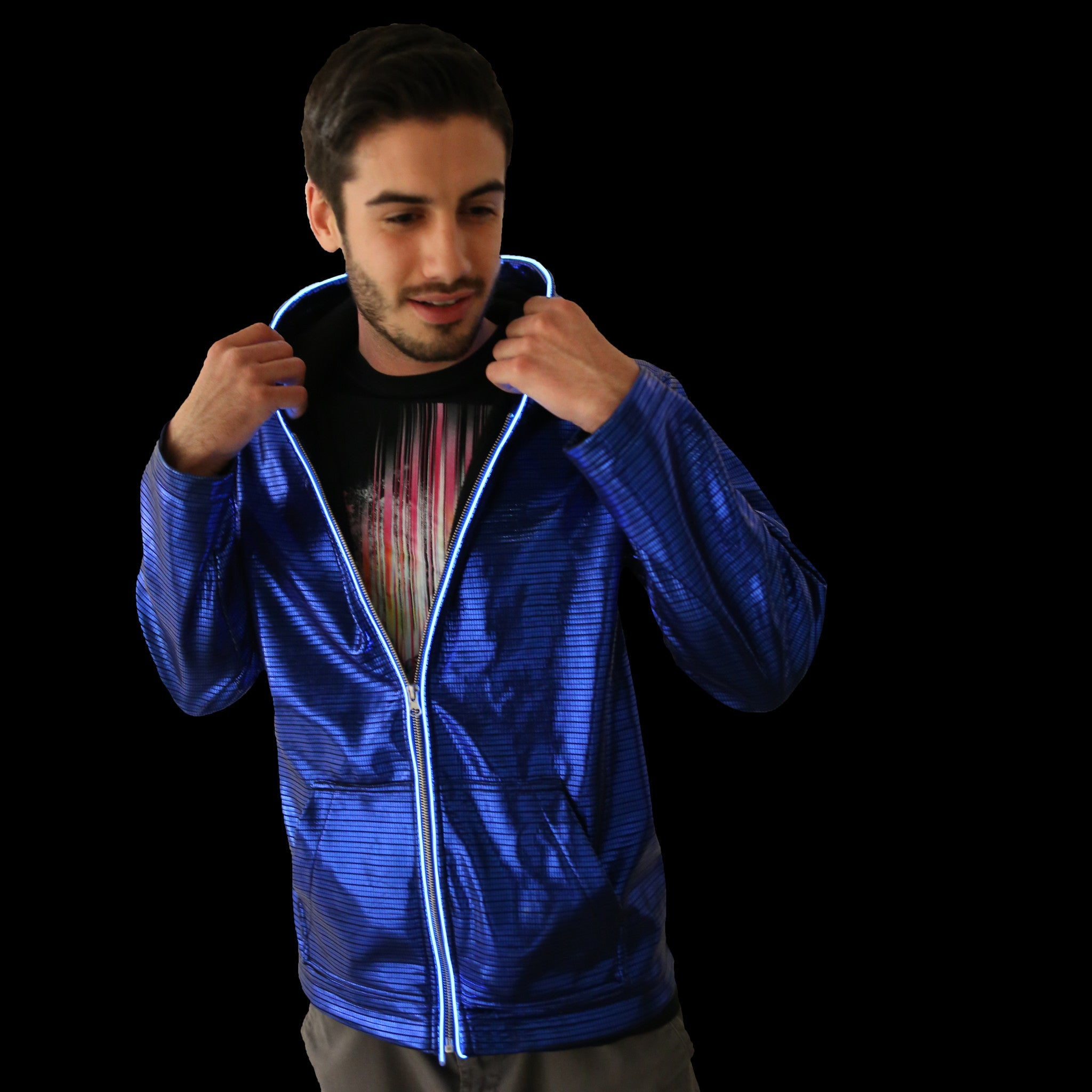 Light Up Electro Hoodie - Electric Styles | World's Number 1 Light Up Shoe Store - {product_type}} - Small / Blue - 2
