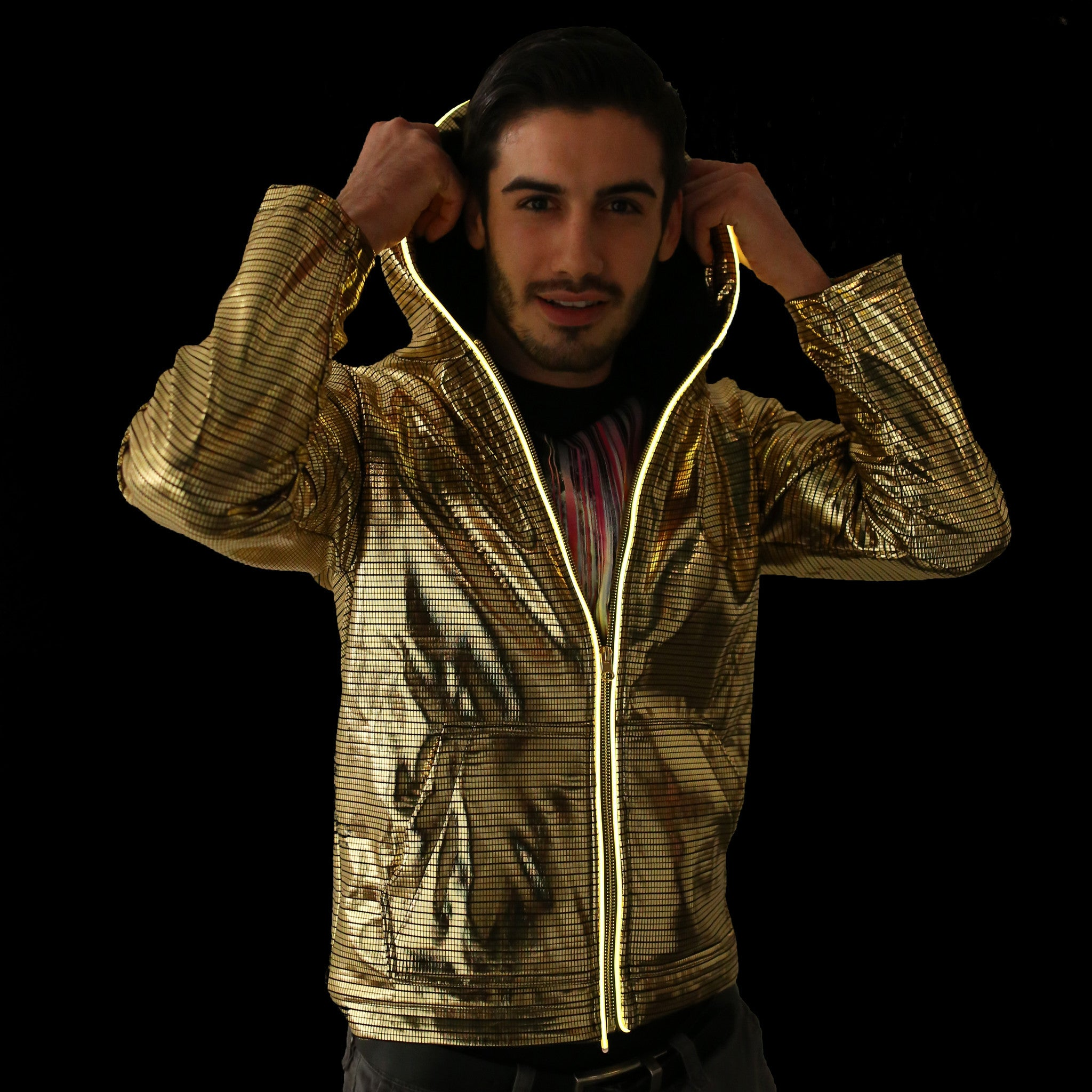 Light Up Electro Hoodie - Electric Styles | World's Number 1 Light Up Shoe Store - {product_type}} - Small / Gold - 3