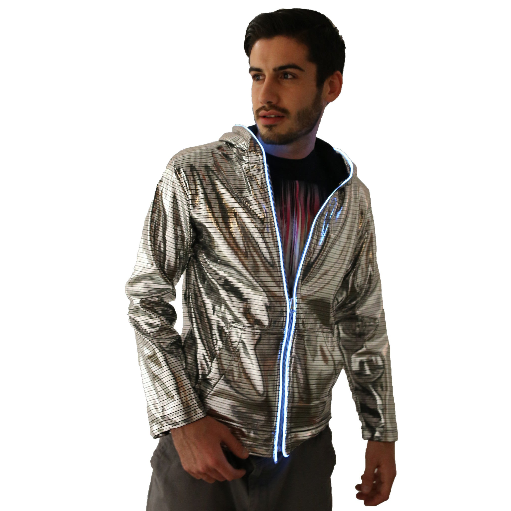 Light Up Electro Hoodie - Electric Styles | World's Number 1 Light Up Shoe Store - {product_type}} - Small / Silver - 4