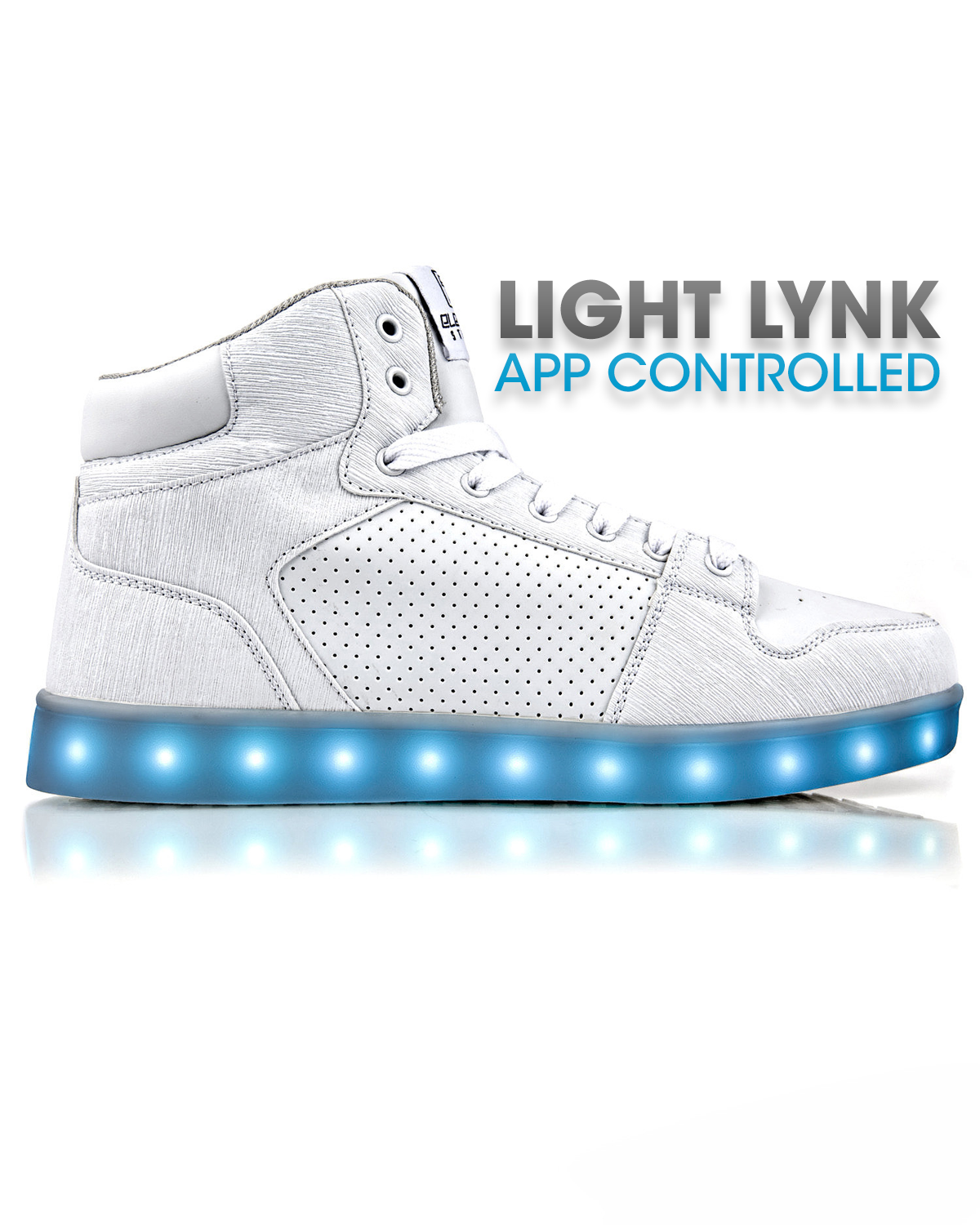 J-Walker - Light Lynk Shoes ( White Leather ) - Electric Styles | World's Number 1 Light Up Shoe Store - {product_type}} -  - 1