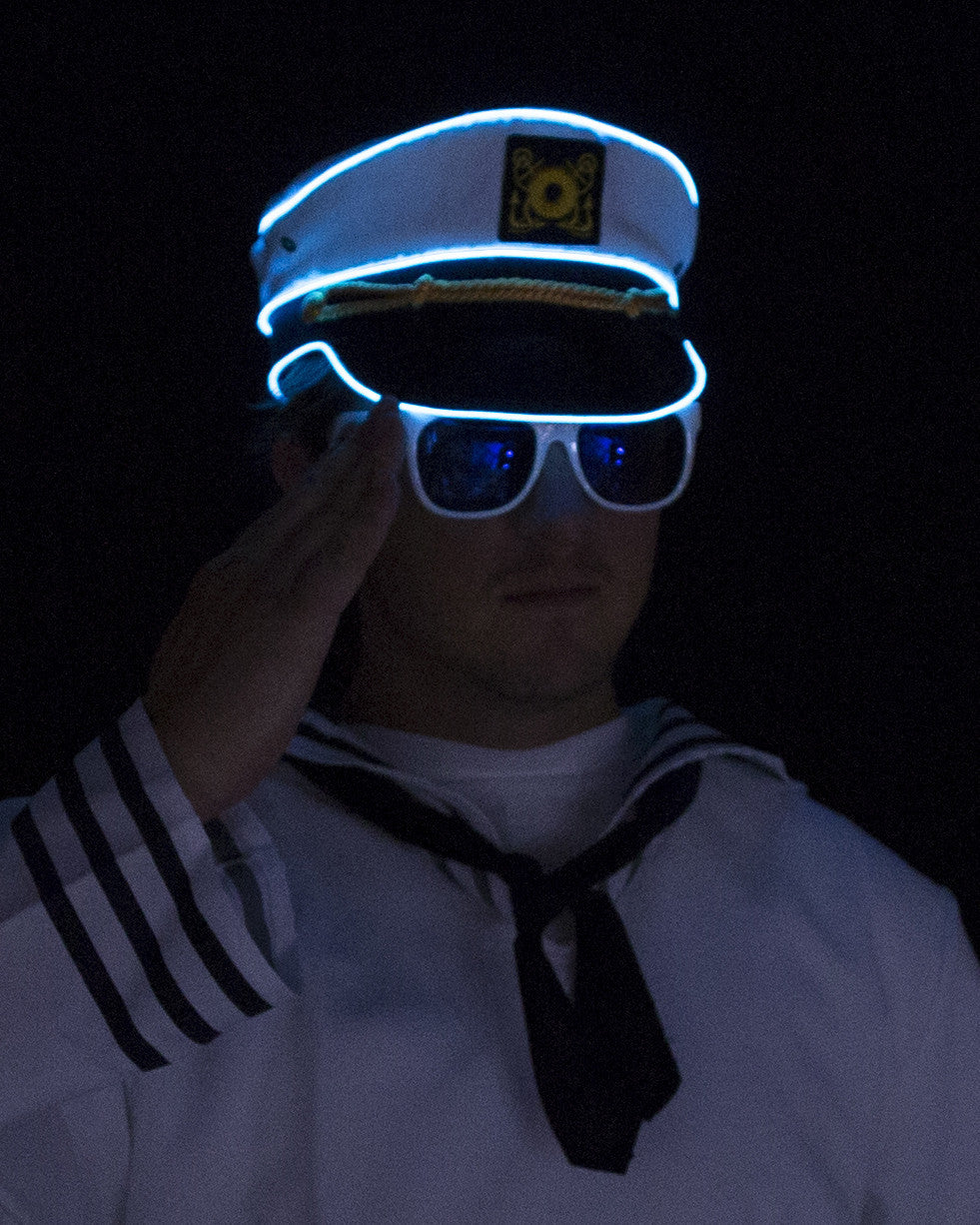 Light Up Navy Sailor Hat - Electric Styles | World's Number 1 Light Up Shoe Store - {product_type}} -  - 8