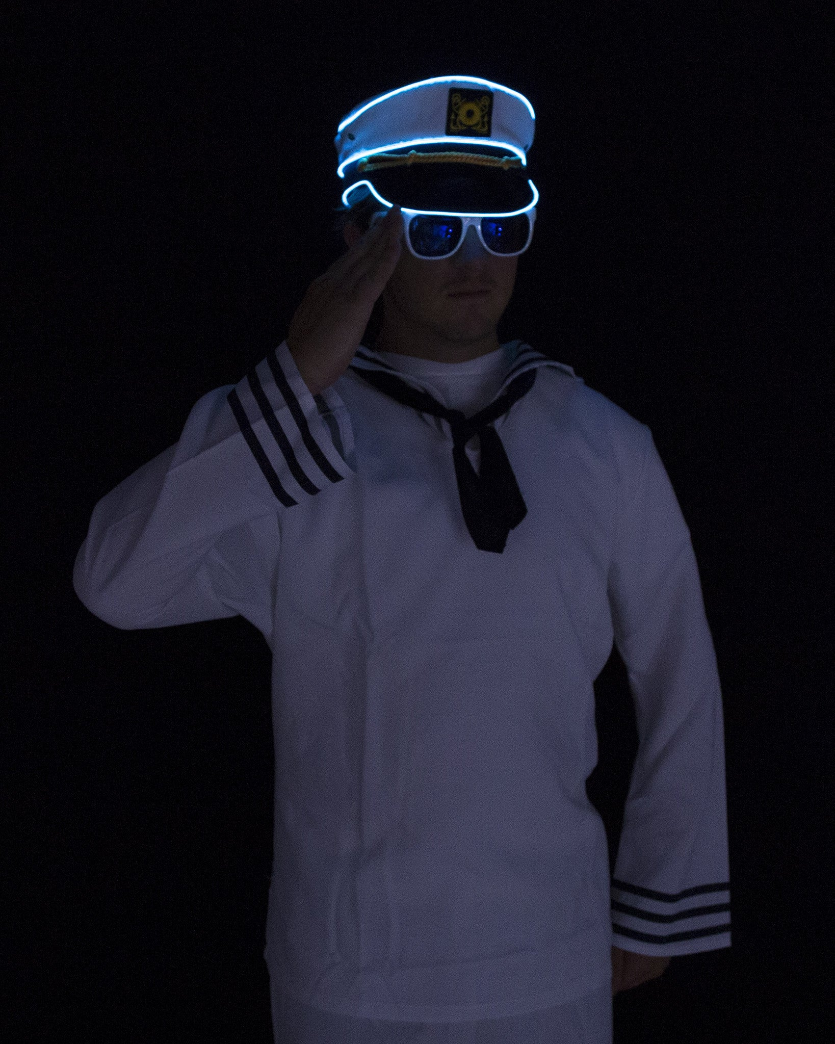 Light Up Navy Sailor Hat - Electric Styles | World's Number 1 Light Up Shoe Store - {product_type}} - Aqua - 7
