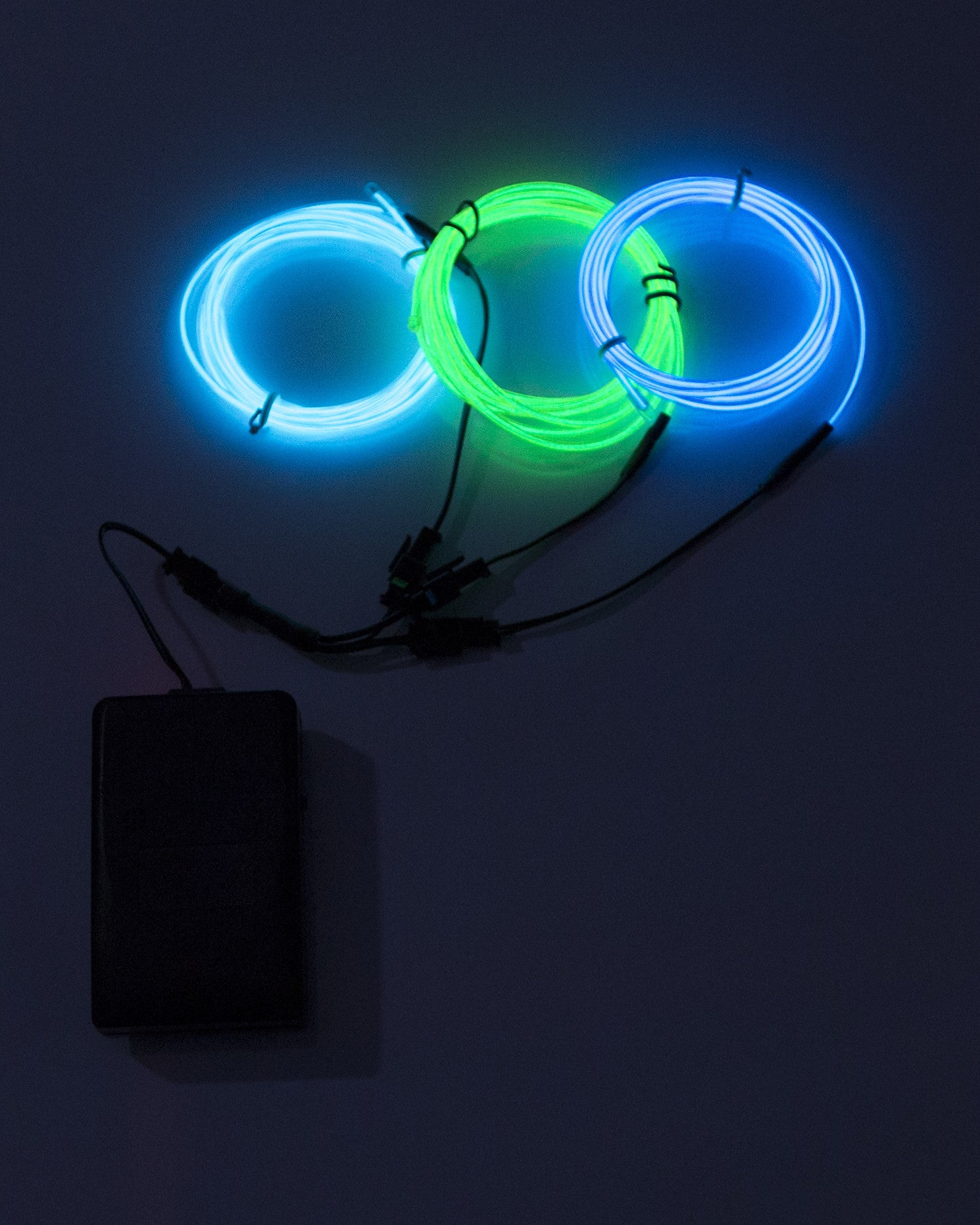 Three Line El Wire Kit with Sound Responsive Battery Pack - Electric Styles | World's Number 1 Light Up Shoe Store - {product_type}} - Blue, Lime Green, Aqua - 3