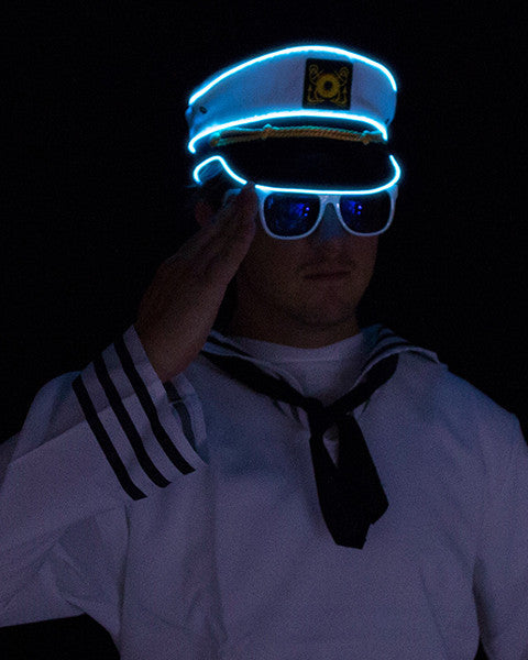 Light Up Navy Sailor Hat - Electric Styles | World's Number 1 Light Up Shoe Store - {product_type}} - Blue - 6
