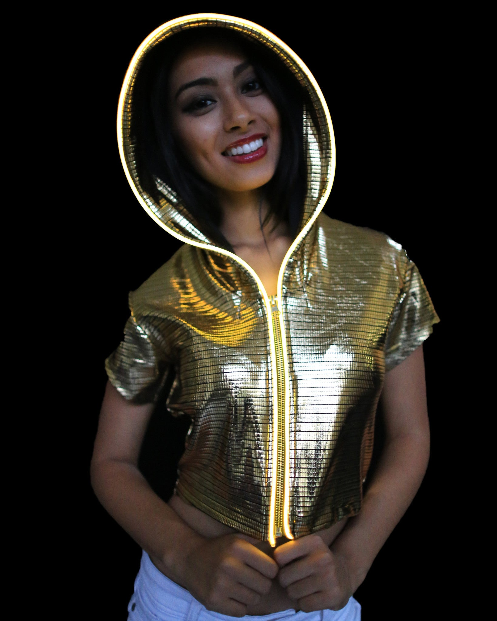 Light Up Crop Top - Electro - Electric Styles | World's Number 1 Light Up Shoe Store - {product_type}} - Gold / Large - 4