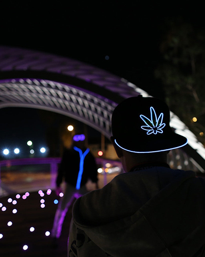Light Up Marijuana Hat - Electric Styles | World's Number 1 Light Up Shoe Store - {product_type}} - White - 1