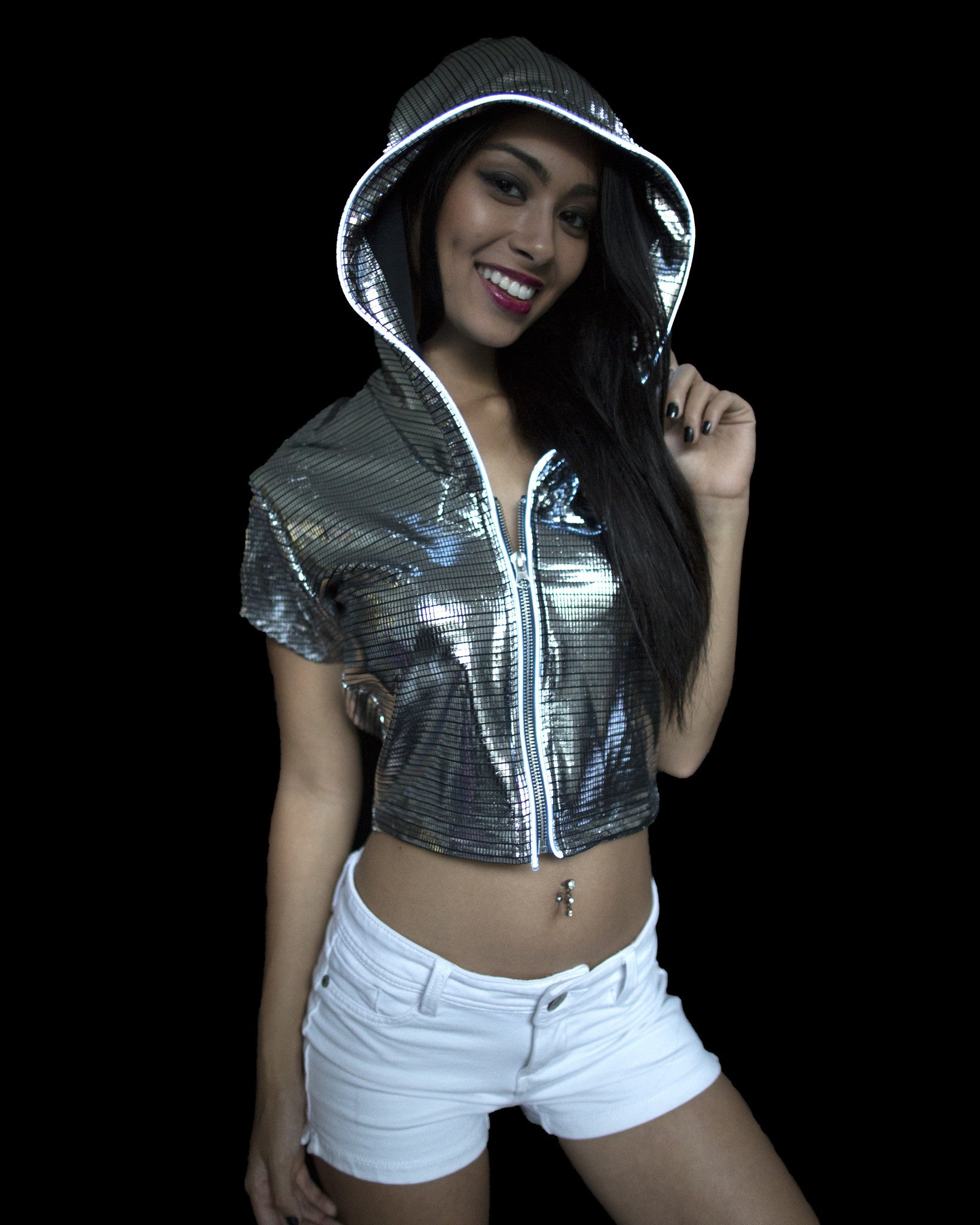 Light Up Crop Top - Electro - Electric Styles | World's Number 1 Light Up Shoe Store - {product_type}} - Silver / Large - 3
