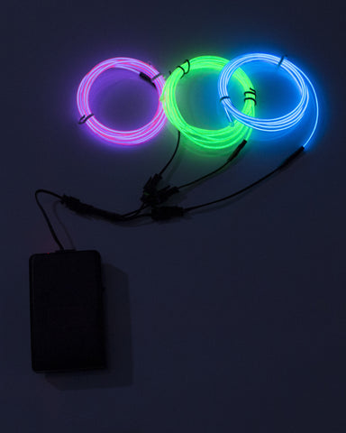 Three Line El Wire Kit with Sound Responsive Battery Pack - Electric Styles | World's Number 1 Light Up Shoe Store - {product_type}} - Pink, Blue, Lime Green - 2