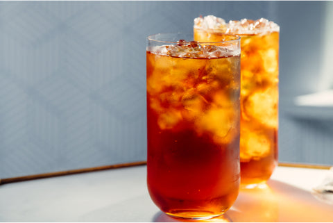 Two glasses of Mighty Leaf Organic Breakfast iced tea