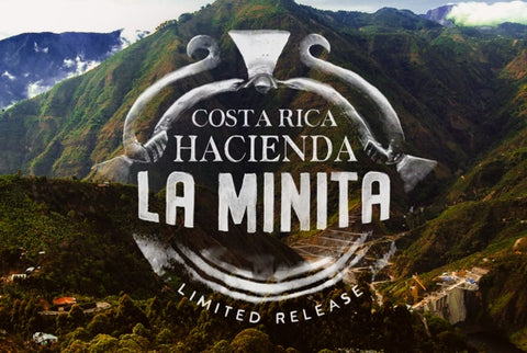 Costa Rica Hacienda La Minita limited release from Peets logo against a background of coffee growing mountains in Costa Rica