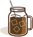 Peet's Easy Cold Brew at Home Recipe - graphic of a handled mason jar full of ice cubes and Peet's Baridi Blend Cold Brew and a paper straw