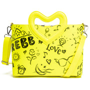 REBB Love Blackboard Yellow, borsa media a tracolla o a mano in ecopelle con manico a cuore