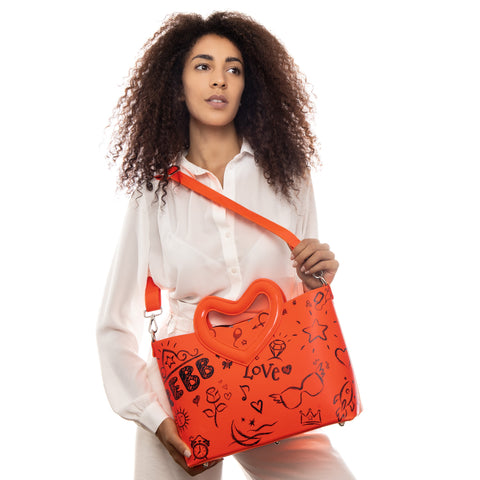REBB Love Blackboard Orange, borsa media a tracolla o a mano in ecopelle con manico a cuore