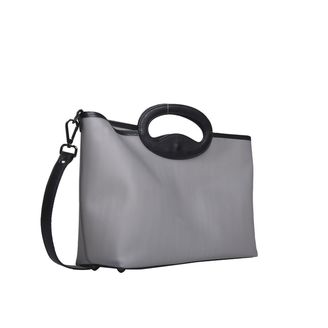 Borsa shopping ICE PREMIUM, in vinile grigio opaco