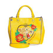 Shopper Donna Tattoo Leopardo - Colore Giallo - Vera Pelle
