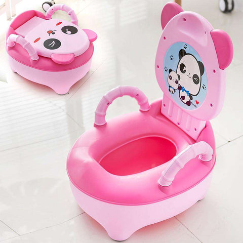 Baby Pot Children Training Potty Toilet Seat Kids Cartoon Panda Toilet Trainer Portable Travel Urinal Comfortable Backrest Pots - Baby-majesty