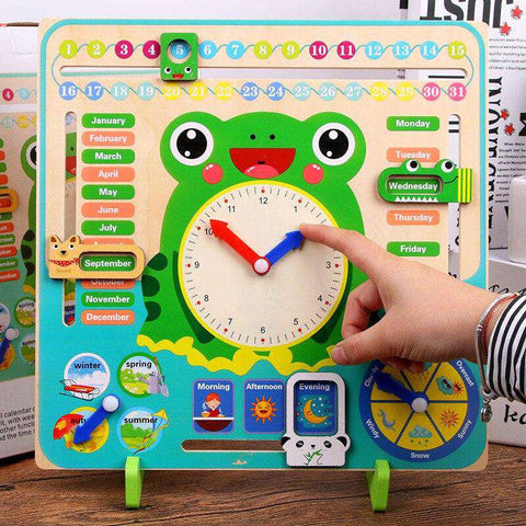 Wooden Toys Montessori kids Weather Season Calendar Clock Time Cognition Preschool English Education Teaching Toys For Children