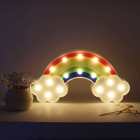 Night Light Rainbow Wall Lamps Battery Powered For Kids Rooms Decor Plastic Table Party Decorative LED Night Lights Lamp