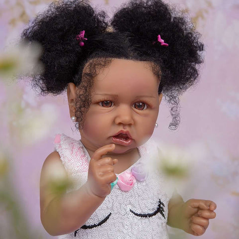 57cm Handmade Fiber Hair Reborn Baby Dolls Black Skin Silicone Full Body Lifelike Toddler Reborn Girl Doll Children's Day Gifts