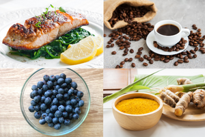 4 foods that fight memory loss - fatty fish, blueberries, coffee and turmeric.