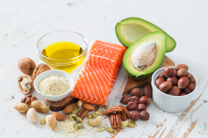 Healthy fats include olive oil, avacados, nuts and fatty fish.