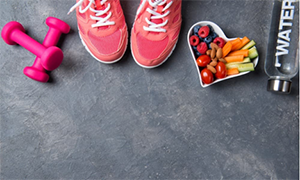 heart-health-promotions-sneakers-healthy-snacks-water-weights