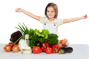 Kids' well-being improves with lots of fruits and vegetables in their diet.