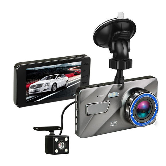 LooperX 4 Inch HD 1080P Dual Lens Camera Night Vision Loop Recording 170 Degree Car DVR Video Dash Cam Front Rear Recorder