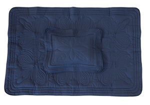 Straight Edge Cot Quilt Set - Navy