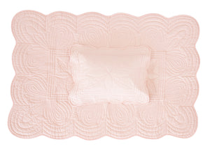 Scallop Edge Cot Quilt Set - Shell Pink