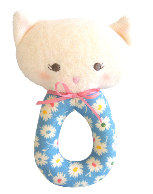 Alimrose Grab Rattle - Kitty Blue Floral 16 cm