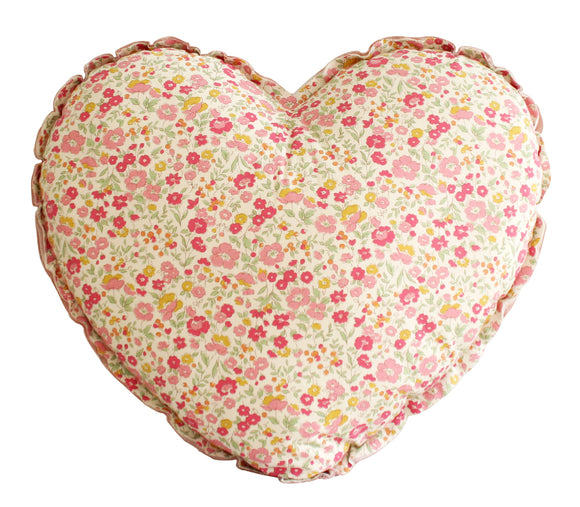 Alimrose Heart Cushion - Blush & Rose Garden