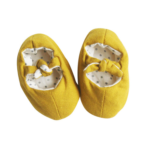 Alimrose Bobby Baby Slippers - Butterscotch Linen