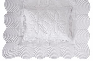 Scallop Edge Single Quilt Set - Dove