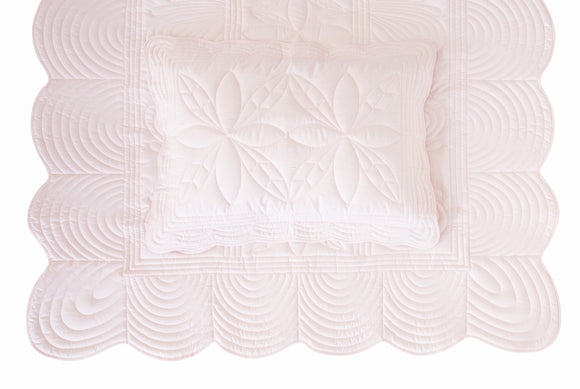 Scallop Edge Single Quilt Set - Powder Pink