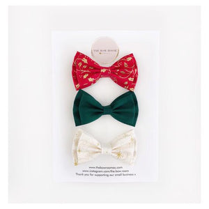 Christmas Sparkle Double Layered Bow Clips