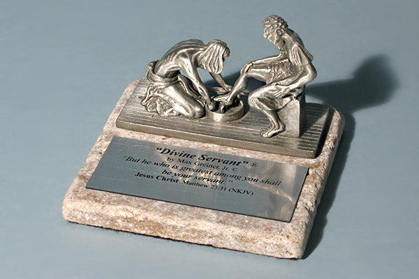 Divine Servant Pewter and Rock Award Sculpture