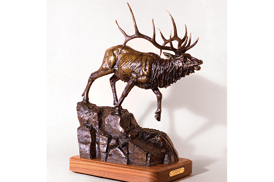 "Wildlife: Rocky Mountain Challenge ""Lone Bull""  Bronze Sculpture"