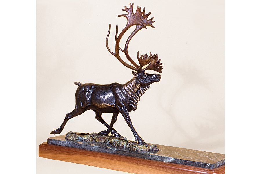 "Wildlife: ""Barren Ground Caribou""  Bronze Sculpture"