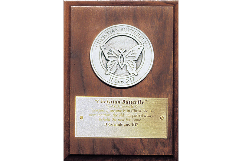 """Christian Butterfly"" Medallion Award in Bronze or Pewter"