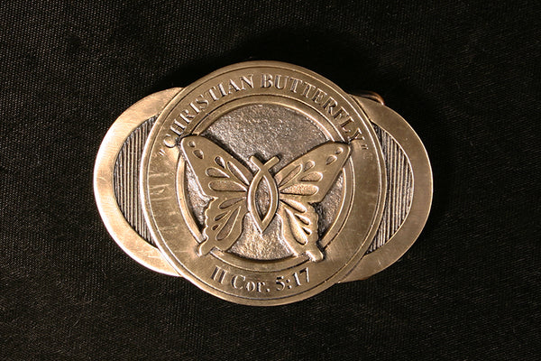Christian Butterfly Belt Buckle