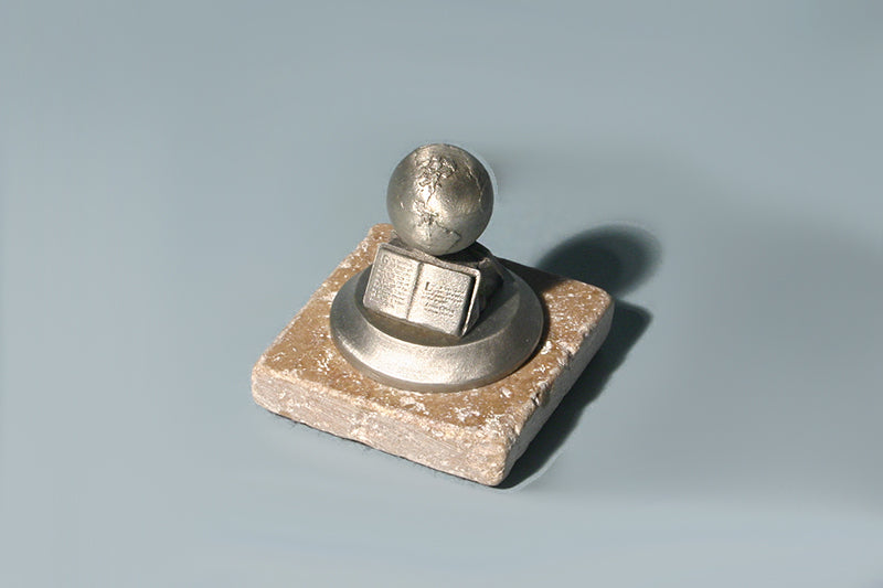 "The Great Commission 3/4"" Globe in Pewter on Rock Base"