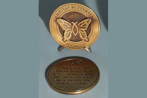 """Christian Butterfly"" Medallion with Base in Bronze or Pewter"