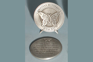 Christian Butterfly Medallion with Base in Bronze or Pewter